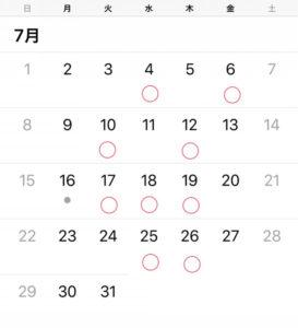 グルーデコ・アクセサリー教室の7月レッスンカレンダー