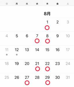 8月グルーデコ・アクセサリー教室レッスンスケジュール