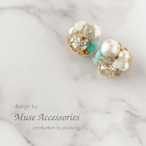 Muse Accessories天然石とビジューのグラデーションピアス